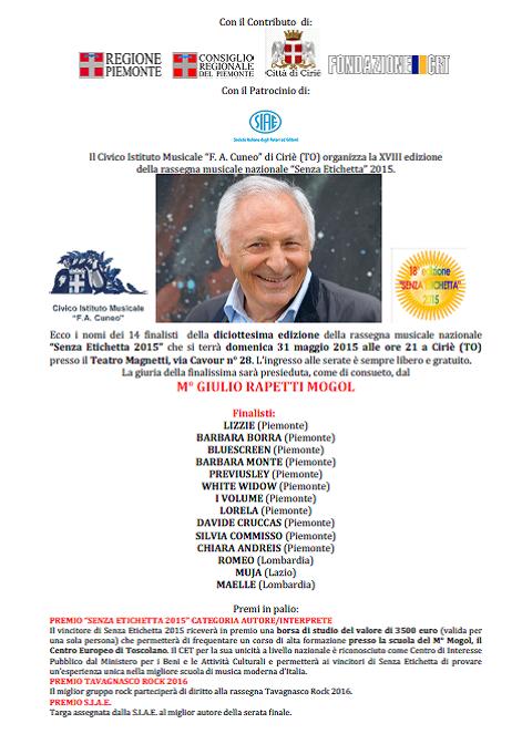 Finalisti Senza Etichetta 2015
